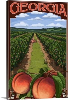 Georgia - Peach Orchard Scene: Retro Travel Poster