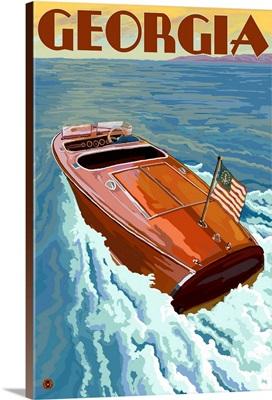 Georgia - Wooden Boat on Lake: Retro Travel Poster