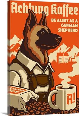 German Shepherd, Retro Coffee Ad