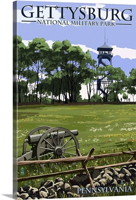 Gettysburg, Pennsylvania - Battlefield Tower: Retro Travel Poster
