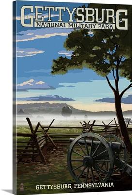 Gettysburg, Pennsylvania - Military Park: Retro Travel Poster