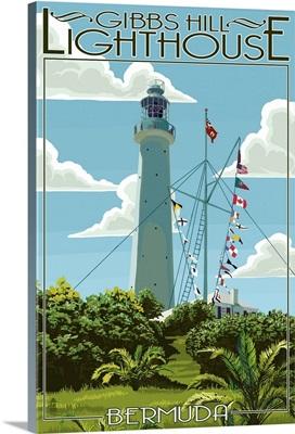 Gibbs Hill Lighthouse - Bermuda: Retro Travel Poster