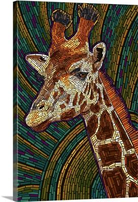 Giraffe - Paper Mosaic: Retro Art Poster