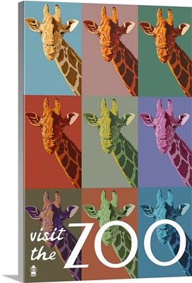 Giraffe - Pop Art - Visit the Zoo: Retro Travel Poster