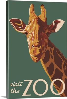 Giraffe Up Close - Visit the Zoo: Retro Travel Poster