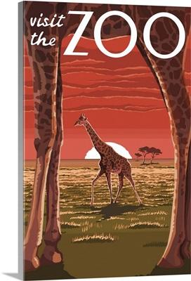 Giraffe - Visit the Zoo: Retro Travel Poster