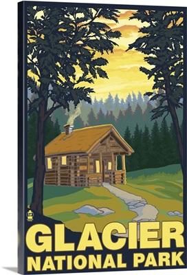 Glacier National Park - Cabin Scene: Retro Travel Poster