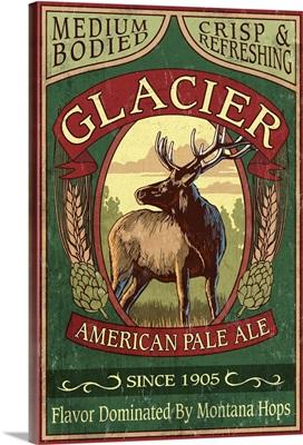 Glacier National Park - Elk Pale Ale Vintage Sign: Retro Travel Poster
