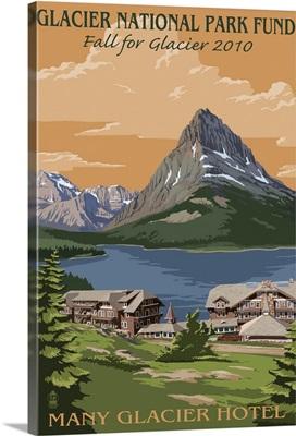 Glacier National Park Fund - Many Glacier Hotel: Retro Travel Poster