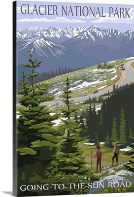 Glacier National Park - Going to the Sun Road and Hikers: Retro Travel Poster