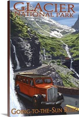 Glacier National Park - Going-To-The-Sun Road: Retro Travel Poster