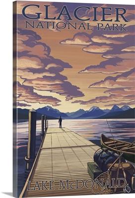 Glacier National Park - Lake McDonald: Retro Travel Poster