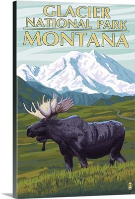 Glacier National Park, Montana, Moose and Mountain
