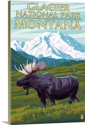 Glacier National Park, Montana - Moose and Mountain: Retro Travel Poster