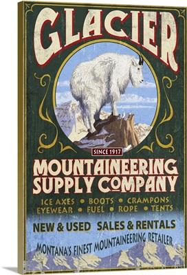 Glacier National Park, Montana - Mountain Goat Vintage Sign: Retro Travel Poster