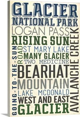 Glacier National Park, Montana, Typography