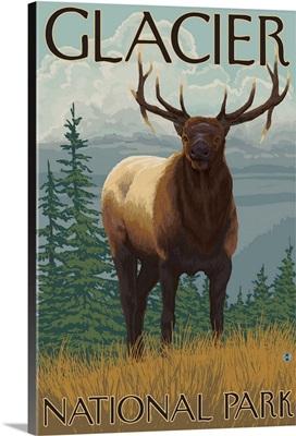 Glacier National Park, MT - Elk: Retro Travel Poster