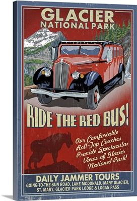 Glacier National Park - Red Jammer Vintage Sign: Retro Travel Poster