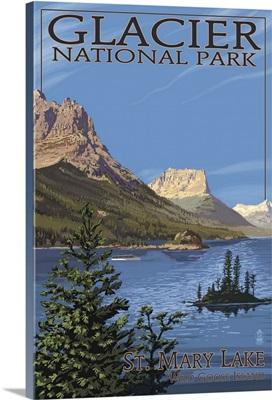 Glacier National Park - St. Mary Lake: Retro Travel Poster