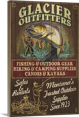 Glacier National Park - Trout Outfitters Vintage Sign: Retro Travel Poster