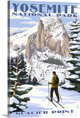 Glacier Point and Half Dome - Yosemite National Park, California: Retro Travel Poster