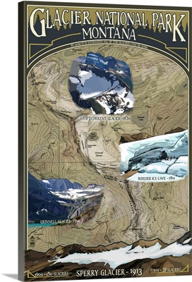 Glacier Scenes Topographical Map - Glacier National Park, Montana: Retro Travel Poster