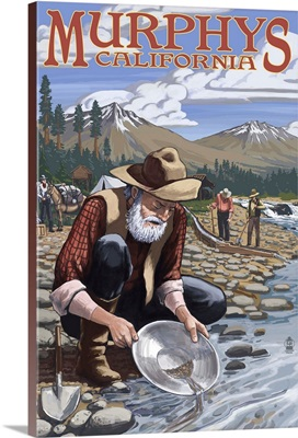 Gold Miners - Murphys, California: Retro Travel Poster