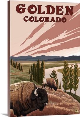 Golden, Colorado - Bison and River: Retro Travel Poster