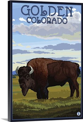 Golden, Colorado - Bison Scene: Retro Travel Poster