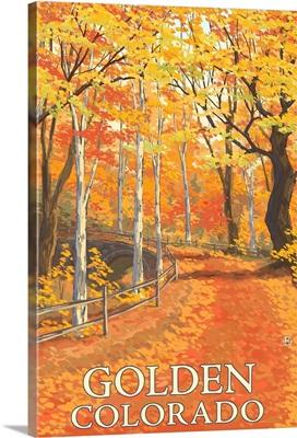 Golden, Colorado - Fall Colors Scene: Retro Travel Poster