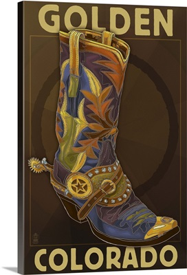 Golden, Colordao - Cowboy Boot: Retro Travel Poster