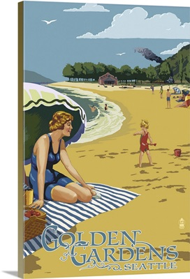 Golden Gardens Beach Scene - Ballard, Seattle, WA: Retro Travel Poster