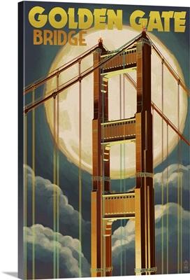 Golden Gate Bridge and Moon - San Francisco, CA: Retro Travel Poster