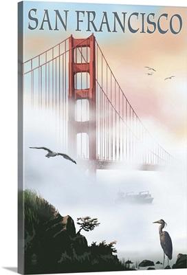 Golden Gate Bridge in Fog - San Francisco, California: Retro Travel Poster