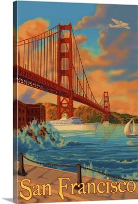 Golden Gate San Francisco: Retro Travel Poster