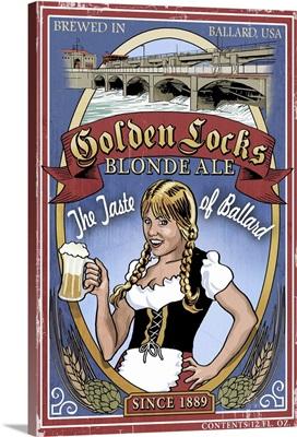 Golden Locks Blonde - Ballard Ale Vintage Sign: Retro Travel Poster