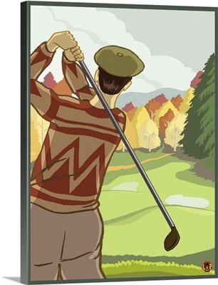 Golfer: Retro Poster Art