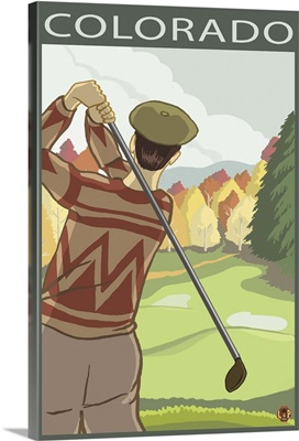 Golfer Scene - Colorado: Retro Travel Poster