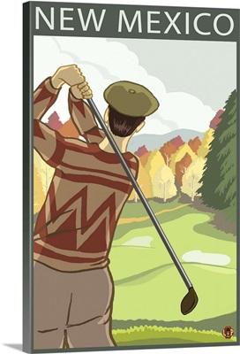 Golfer Scene - New Mexico: Retro Travel Poster