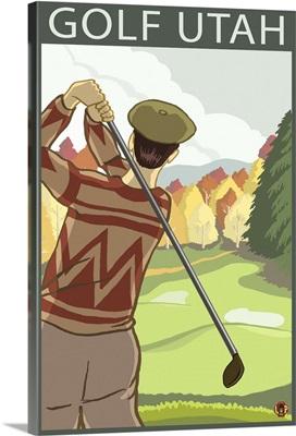 Golfer Scene - Utah: Retro Travel Poster