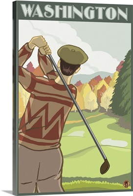 Golfer Scene - Washington: Retro Travel Poster