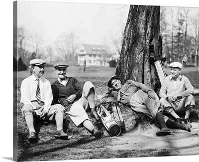Golfers resting in the shade between holes, Washington, DC