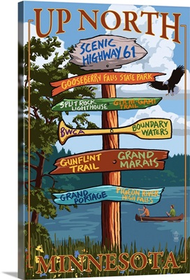 Gooseberry Falls, Minnesota - Destination Signpost: Retro Travel Poster