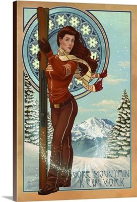 Gore Mountain, New York - Art Nouveau Skier: Retro Travel Poster