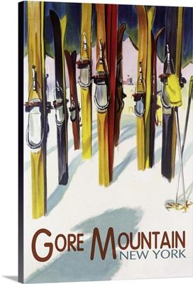 Gore Mountain, New York - Colorful Skis: Retro Travel Poster
