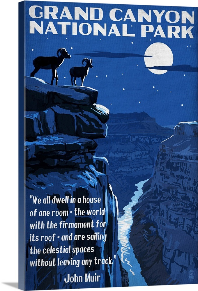 Grand Canyon National Park Arizona Night Scene With Muir Quote