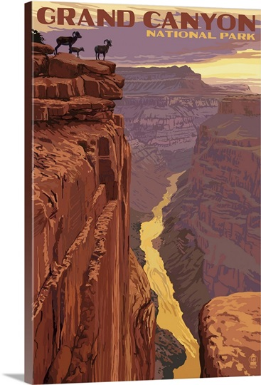 Grand Canyon National Park - Bighorn Sheep on Point: Retro Travel Poster