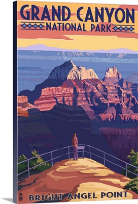 Grand Canyon National Park - Bright Angel Point: Retro Travel Poster
