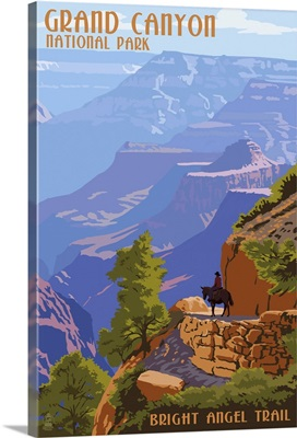 Grand Canyon National Park - Bright Angel Trail: Retro Travel Poster