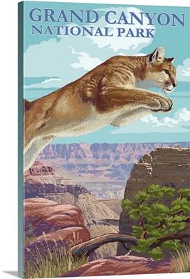 Grand Canyon National Park - Cougar Jumping: Retro Travel Poster